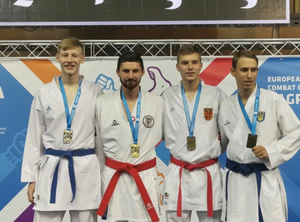 Robin on the podium at EUC Combat 2019