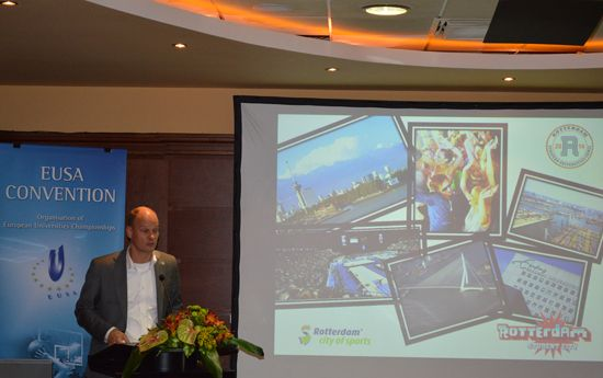 Presentation of the 2nd European Universiteis Games Rotterdam 2014 by Mr Smit