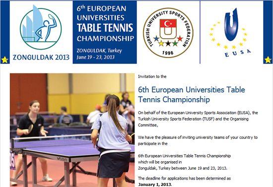 Invitation Euc Table Tennis 2013 Eusa