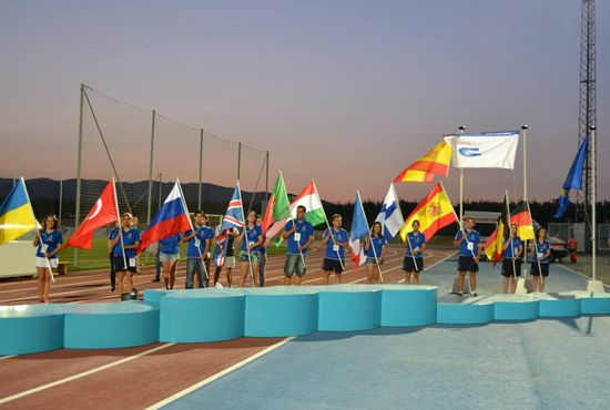 Participants' flags at the Closing ceremony