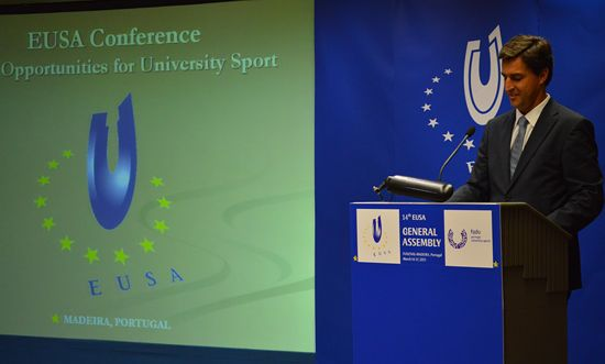 Mr Nuno Teixeira, MEP opening the panel EU Opportunities in the field of Sport