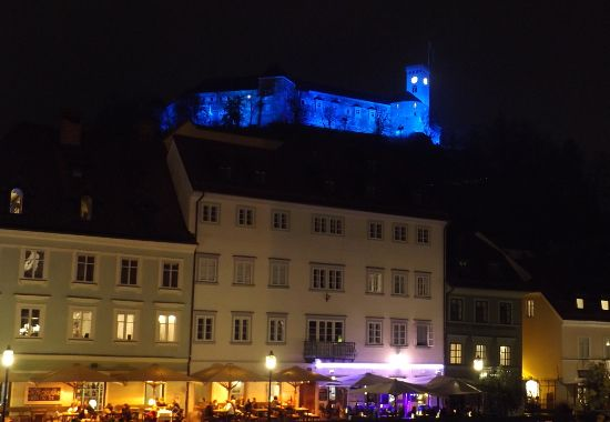 Ljubljana and its castle by night