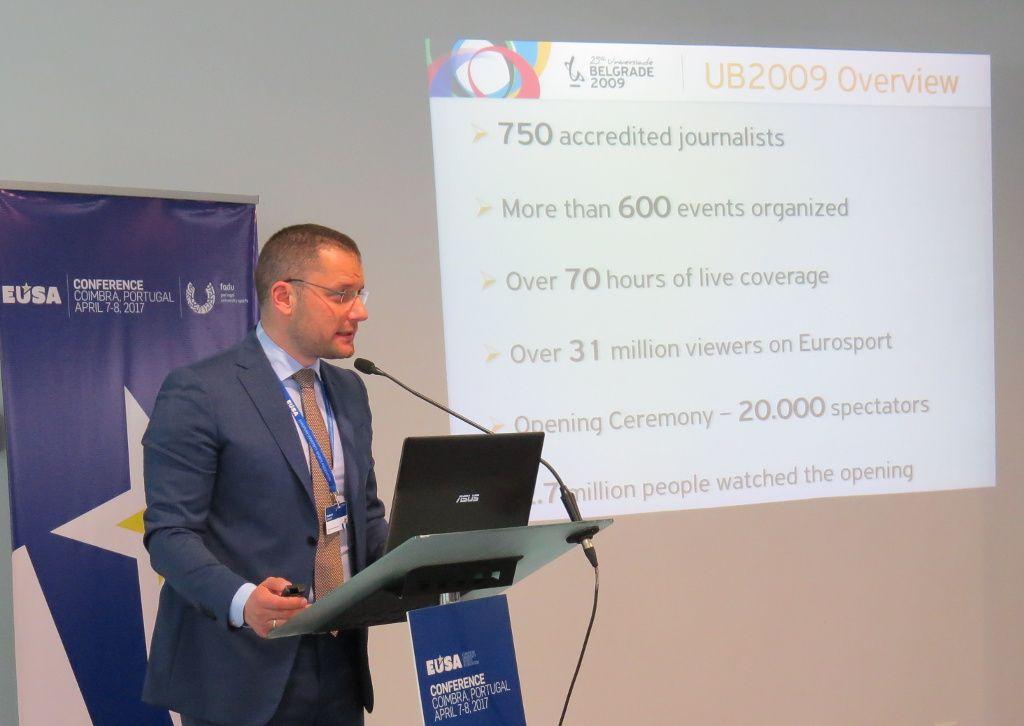 Mr Radomir Jovovic presenting Belgrade 2009 Universiade