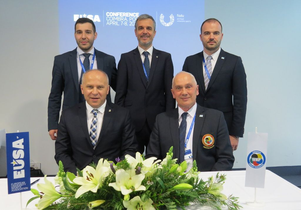 EKF Secretary General with EUSA President, Secretary General, Sports Manager and Technical Delegate for Karate