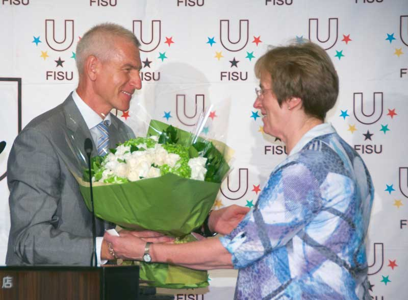 FISU President presenting special awards for lifetime achievements