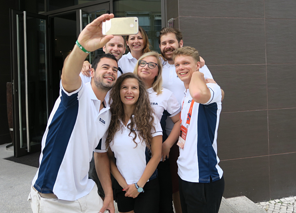 Current and Former EUSA EVS volunteers at the European Universities Games in Coimbra