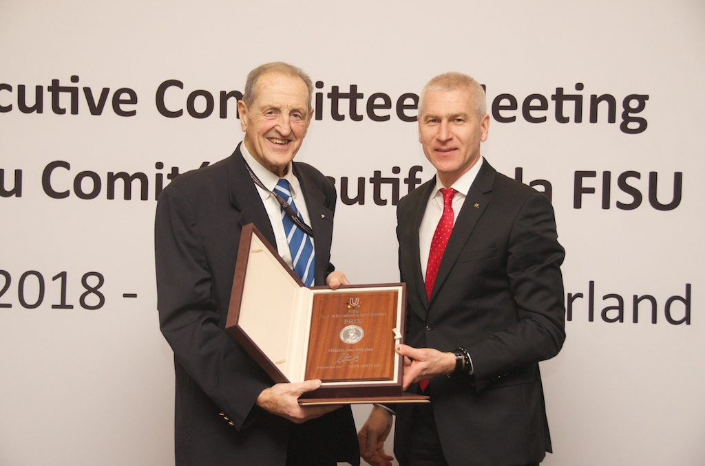 Claude-Louis Gallien bestowed with FISU Emeritus Honorary Member award
