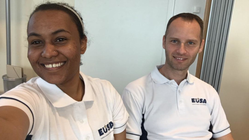 EUSA EVS volunteer Jenaan Al-Rahman Ahmed with Communications & Projects Manager Andrej Pisl