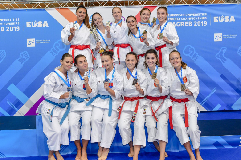 Women's medallists at EUC 2019 Combat