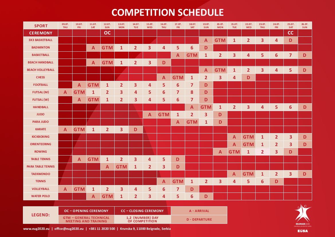 EUG2020 Competition schedule