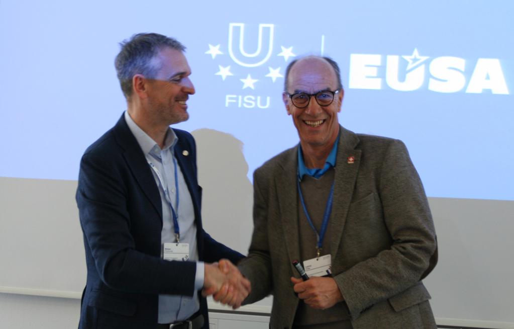 Mr Eder and Mr Pecovnik giving concluding remarks at FISU-EUSA 2019