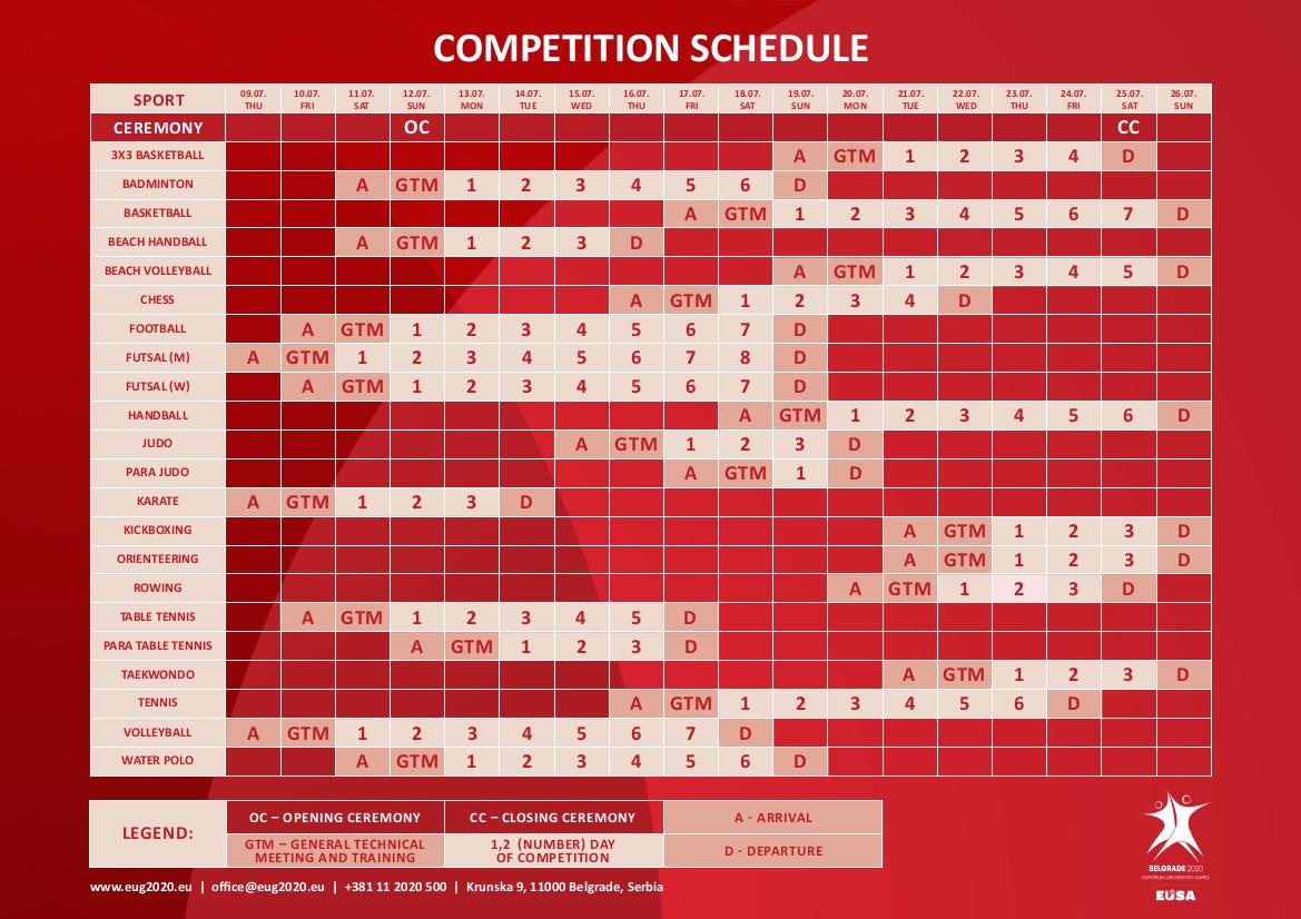 Event sports schedule