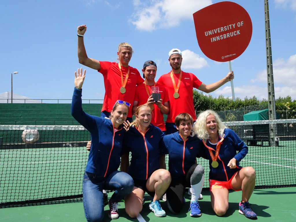 University of Innsbruck tennis team at the Coimbra 2018 EUSA Games