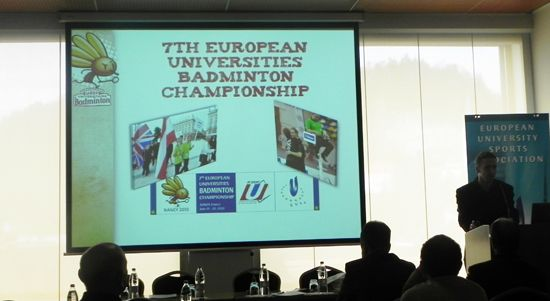 Mr Valentin Dupoey presenting the EUC Badminton 2010